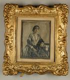 Visualizza Damenporträt, koloriert, im Rahmen, um 1850. anteprime su