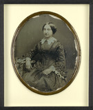 Forhåndsvisning av Portrait de femme à la robe à rayures, à mi c…