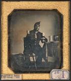 Esikatselunkuvan Militaire en uniforme de l'infanterie, assis,… näyttö