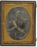 Visualizza A half length portrait of a young man in Brit… anteprime su