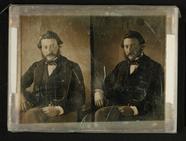 Visualizza Mann sitzend mit gepunkteter Fliege, um 1850. anteprime su
