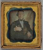 Thumbnail preview of Portrait of a man. Puolikuva miehestä, joka r…