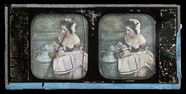 Visualizza Young woman pouring milk to a bowl, colored. anteprime su