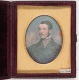Thumbnail preview of Portrett av mann med bart mot en bakgrunn som…