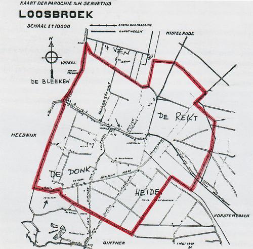 Kaart Parochie Loosbroek 1947