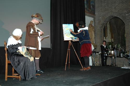 Generale repetitie van het theaterstuk Quercus ad Nisipa ter gelegenheid van de opening feestjaar Nispen Feest!