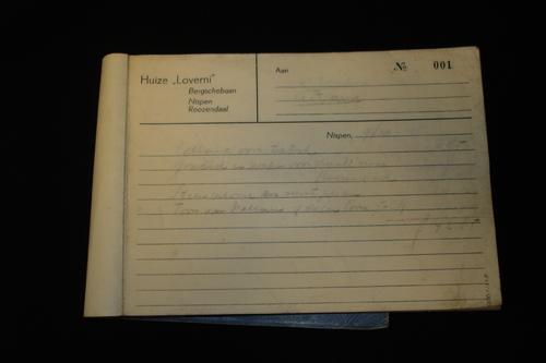 Facturenboekje van Huize Loverni te Nispen