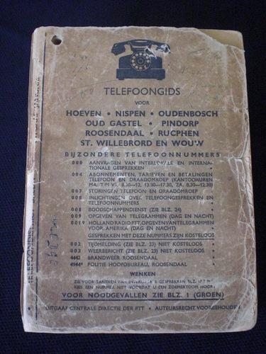 Telefoongids voor Hoeven, Nispen, Oudenbosch, Oud Gastel, Pindorp, Roosendaal, Rucphen, St. Willebrod en Wouw
