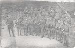 Een groep landstormers in het kamp Vlasakkers. De ...