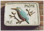 Gevelsteen van een ijsvogel in het pand Sint Andri...