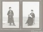 Twee foto's van een onbekend jongetje met pijp. De...