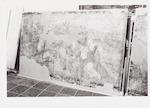 Beschadigde muurschildering, afkomstig van de geve...