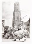 Surrogaat-kei op de Varkensmarkt, tijdens de eeuwf...