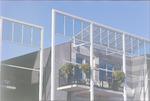 Detailopname van balkon van woningen aan het Maske...