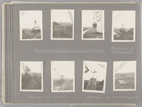 """Bladzijde uit het fotoalbum """"Beoosten de Eem"""", dat gewijd is aan de ruilverkaveling in dat gebied. Beelden van het graven van de nieuwe weteringen met dragline en menskracht. Benoorden de Bikkersvaart (rechtsboven) vermoedelijk het graven van de Noorderwetering of de nieuwe Broerswetering. Rechtsonder het verplaatsen van de betonnen rijplaten voor de dragline."""