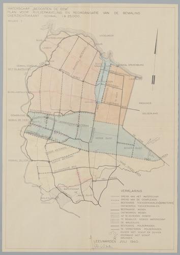 Overzichtskaart van het plan voor ruilverkaveling en reorganisatie van de bemaling, bijlage I bij het Rapport-Kielman, uitgebracht in opdracht van het bestuur van Waterschap Beoosten de Eem in 1940.