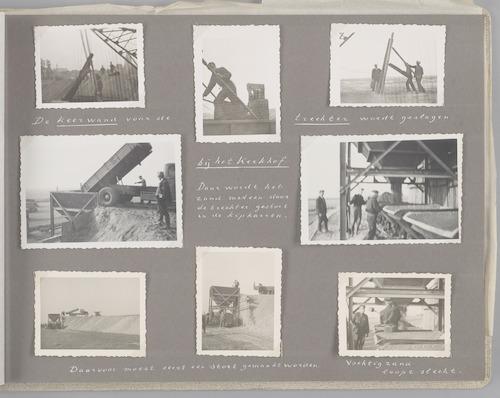 """Bladzijde uit het fotoalbum """"Beoosten de Eem"""", dat gewijd is aan de ruilverkaveling in dat gebied. Beelden van winning en transport van zand, nodig voor het verbeteren van de infrastructuur van de ruilverkaveling."""