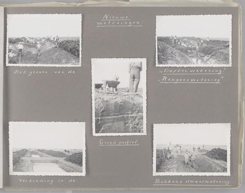 """Bladzijde uit het fotoalbum """"Beoosten de Eem"""", dat gewijd is aan de ruilverkaveling in dat gebied. Beelden van het graven van nieuwe (dwars)weteringen in Boven- en Beneden(Neder)-Duist: de Oosterwetering, Rengerswetering en Bikkersdwarswetering (omstreeks 1946)."""