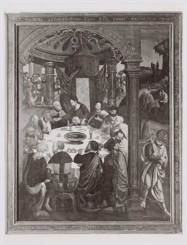 """Altaarpaneel """"Het laatste avondmaal"""". Dit paneel hangt in de regentenkamer van de Stichting Armen de Poth. Het dateert van ca. 1540."""