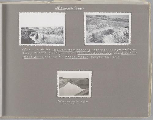 """Bladzijde uit het fotoalbum """"Beoosten de Eem"""", dat gewijd is aan de ruilverkaveling in dat gebied. Beelden van het grondwerk (omstreeks 1949) voor het bouwen van een betonnen brug ter plaatse van de kruising van de Wijde Wetering en de Achter-Eemlandse Wetering. De brug en de wegen Slaagseweg, Achter-Eemlandseweg en Neerzeldertseweg dienen ter ontsluiting van de polders Eemland, Zeldert en Burgermaten."""