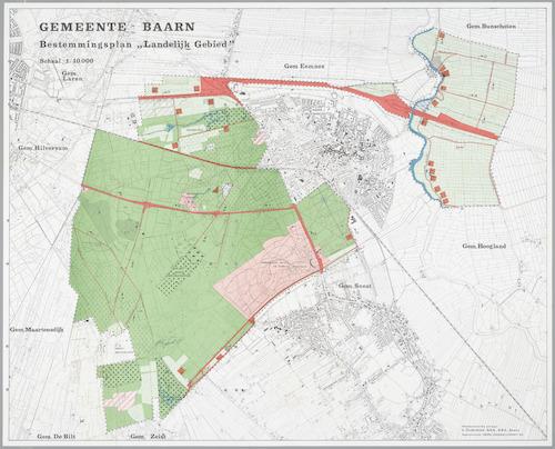 Overzichtskaart behorend bij het Bestemmingsplan Landelijk gebied van de gemeente Baarn van 1970.