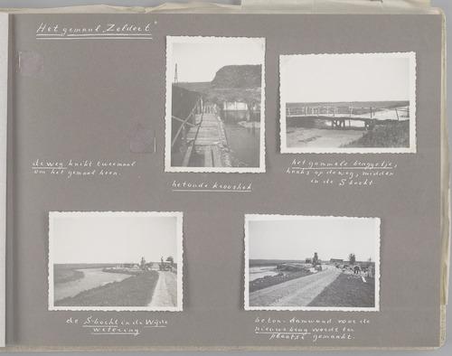 """Bladzijde uit het fotoalbum """"Beoosten de Eem"""", dat gewijd is aan de ruilverkaveling in dat gebied. Beelden van de omgeving van gemaal Zeldert uit 1896. Het oude krooshek, een gammel bruggetje, de S-bocht in de Wijde wetering en een damwand voor een nieuwe brug (1947-1948)."""
