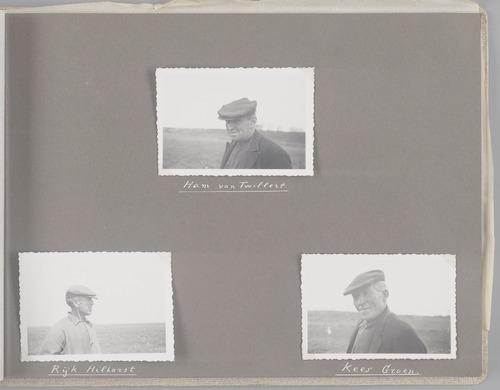 """Bladzijde uit het fotoalbum """"Beoosten de Eem"""", dat gewijd is aan de ruilverkaveling in dat gebied. Portretten van drie betrokkenen: Ham van Twillert (boven), Rijk Hilhorst (links) en Kees Groen (rechts)."""