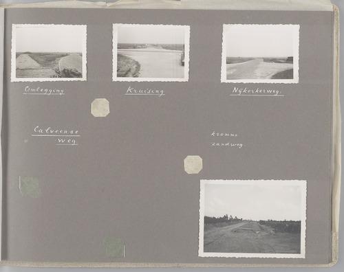 """Bladzijde uit het fotoalbum """"Beoosten de Eem"""", dat gewijd is aan de ruilverkaveling in dat gebied. Beelden van het omleggen in 1946 van een kruising van de Nijkerkerweg (in Bunschoten)."""