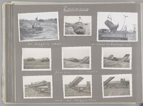 """Bladzijde uit het fotoalbum """"Beoosten de Eem"""", dat gewijd is aan de ruilverkaveling in dat gebied. Beelden van winning en transport van zand, nodig voor het verbeteren van de infrastructuur van de ruilverkaveling. Een zanddepot lag bij de Huijgenlaan in Bunschoten."""