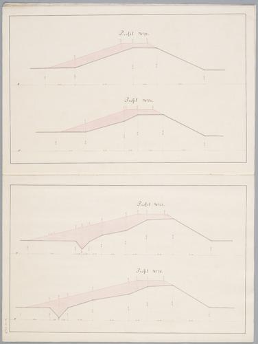 Dwarsprofieltekeningen nrs 23 t/m 26, behorend bij het plan tot verhoging en verzwaring van de Grebbedijk door L. van de Kasteele en M.H. Conrad.