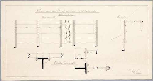 Bouwtekening (vooraanzicht, doorsnede en details) voor een beschoeiing langs de westelijke Singelgracht bij het Beukenlaantje te Amersfoort