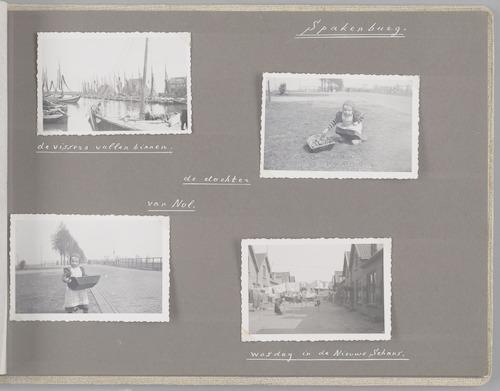 """Bladzijde uit het fotoalbum """"Beoosten de Eem"""", dat gewijd is aan de ruilverkaveling in dat gebied. Beelden van het dorp Spakenburg: de haven (linksboven), een meisje in klederdracht (rechtsboven en linksonder) en wasdag in de Nieuwe Schans (rechtsonder)."""