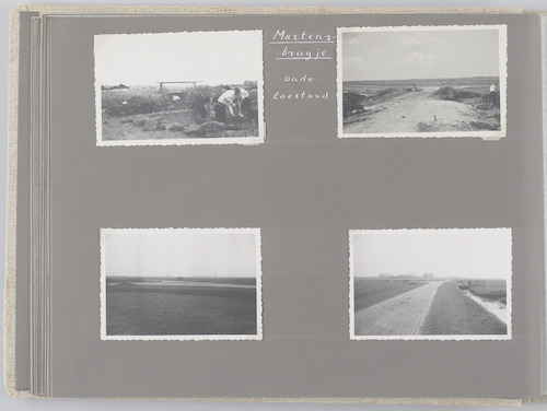 """Bladzijde uit het fotoalbum """"Beoosten de Eem"""", dat gewijd is aan de ruilverkaveling in dat gebied. De Martjesbrug verbindt de Slaagseweg en de Neerzeldertseweg. Boven de oude toestand van het brugje, beneden de wegen bij de brug. De brug was in de oorlog vernield. In 1947 vervangen door een duiker."""