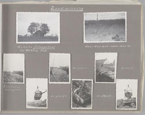 """Bladzijde uit het fotoalbum """"Beoosten de Eem"""", dat gewijd is aan de ruilverkaveling in dat gebied. Beelden van winning van zand, nodig voor het verbeteren van de infrastructuur van de ruilverkaveling. Vermoedelijk in de buurt van de oude schaapskooi van Willem Kok (linksboven)."""