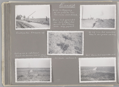 """Bladzijde uit het fotoalbum """"Beoosten de Eem"""", dat gewijd is aan de ruilverkaveling in dat gebied. Beelden van de schade tengevolge van het storten van een zandlichaam voor een wegomlegging bij een oude doorbraak bij Eemdijk: een lichtpaal valt om (linksboven), de grond opzij wordt omhoog gedrukt (rechtsboven), de graszode scheurt (midden) en de bodem van een sloot komt omhoog tot boven het maaiveld (onder)."""