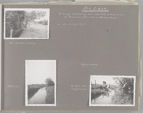 """Bladzijde uit het fotoalbum """"Beoosten de Eem"""", dat gewijd is aan de ruilverkaveling in dat gebied. Beelden van het beekje de Laak op de grens van Utrecht en Gelderland en de enige afwatering voor 2000 ha. In de droge tijd kon de beek ook droogstaan. In 1939 is de Laaksluis gebouwd."""