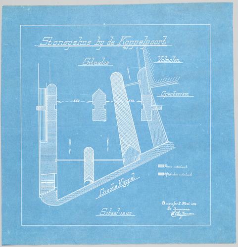 Bouwtekening van de Stoneysluis bij de Koppelpoort te Amersfoort. Blad 2: situatie (volmolen, openterrein, groote koppel).