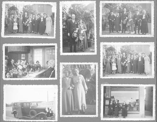 """Een bladzijde uit het familiealbum van Ab van Eijs, met foto's van het huwelijk van zijn ouders in de tuin van Puntenburg. Rechtsonder de winkel van lijstenmaker en fluweelschilder Van Eijs. Linksonder de trouwauto, met op de achtergrond de voormalige weverij van Van Leijden ter plaatse van het gebouw """"De Plantage""""."""