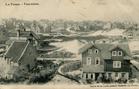 De Panne: panorama met op de voorgrond Pietjes Huisje en Villa Pierre in de Kykhillweg op