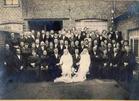 Langemark:dubbele  huwelijksfoto van en van Jules Bril met Madeleine Lemahieu Hilaire Van Eecke met Maria Lemahieu