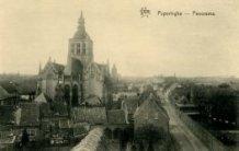 Poperinge: panorama van de Sint-Janskerk en de Bruggestraat