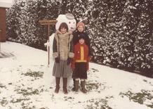 Kortemark: sneeuwman in de tuin van oom en tante
