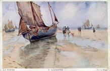 De Panne: strandtafereel van Cassiers als ansichtkaart uitgegeven