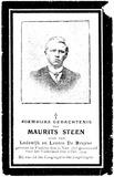 Vladslo : Bidprentje Maurits Steen : Eerste Wereldoorlog