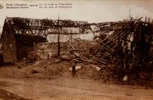 Houthulst: verwoeste hoeve op de weg naar Poelkapelle tijdens de Eerste Wereldoorlog