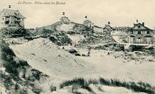 De Panne: panoramisch zicht met nog schaarse bebouwing in de duinen