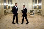 Koning Willem-Alexander ontvangt de Russische vicepremier Arkady Dvorkovich op p…