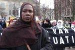 Demonstratie Internationale Vrouwendag voor Vluchtelingenvrouwen op het Plein; v…