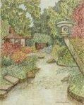 Gezicht in de Japanse tuin. Rechts een Japanse lantaarn boven een vijver, links …