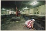Ondergrondse werkzaamheden aan de vloeren van de tramtunnel, halte Grote Marktst…